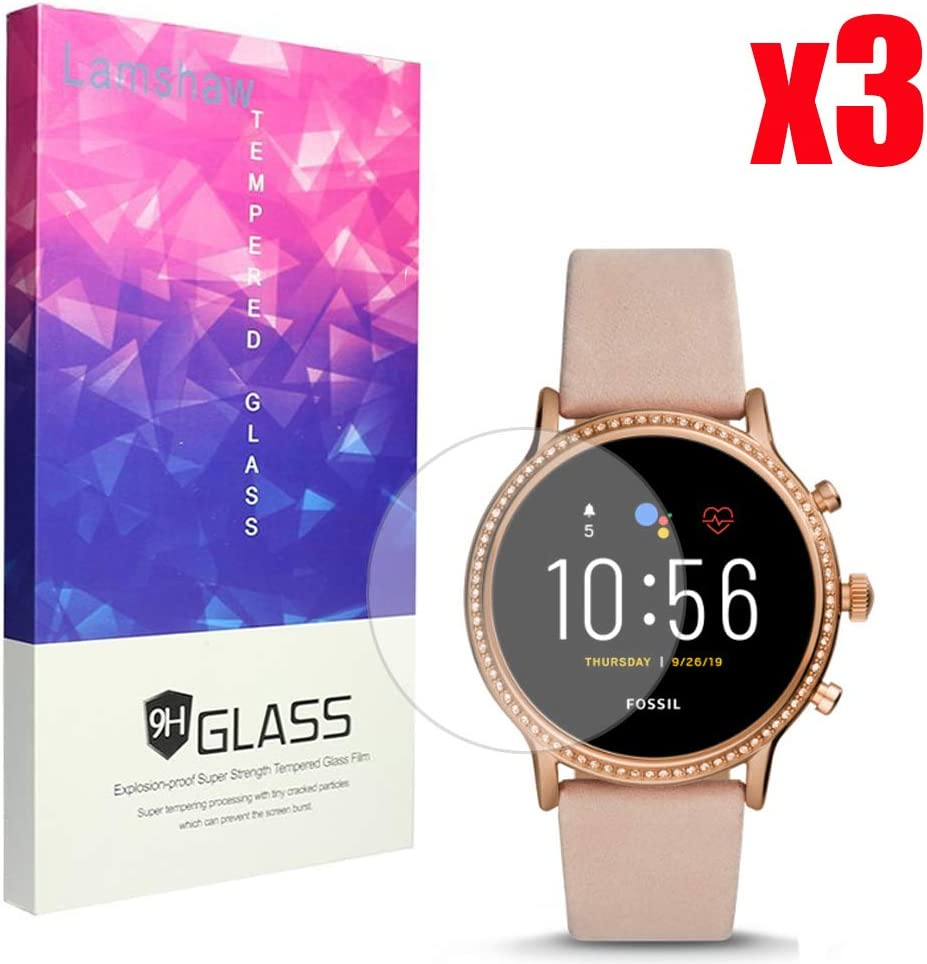 Julianna HR Blueshaw 9H Tempered Glass Screen Protector Compatible for Fossil GEN 5 SMARTWATCH 3 Pack Compatible for Fossil Julianna Hr Screen Protector