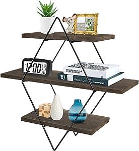 Floating Wall Shelves, Befayoo Rustic Decor Geometric Wood Shelf for Bedroom, Living Room, Bathroom, Kitchen, Office (Diamond, Brown)