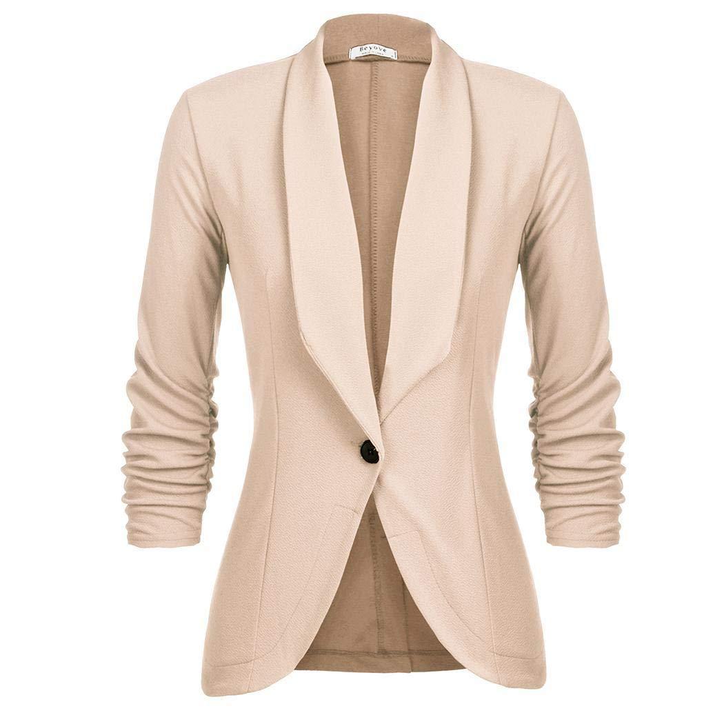 Unibelle Damen Cardigan Elegant Blazer Leicht Dünn 3/4 Längere Bolero Jacke Blazer Slim Fit Anzug Trenchcoat