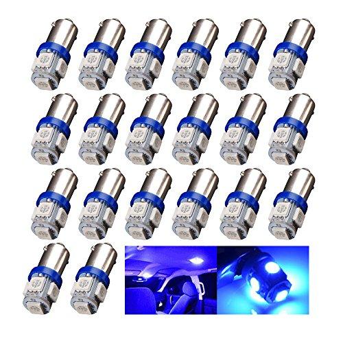EverBrightt 20-Pack Blue BA9S 5050 5SMD Led Bulbs Wedge Light License Plate Lamp Side Maker Light 12V