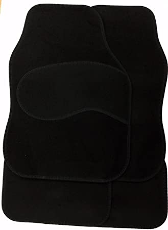 4pc Universal Black Car Floor Mat Set Heavy Duty Carpet Front Rear Non Slip Grip