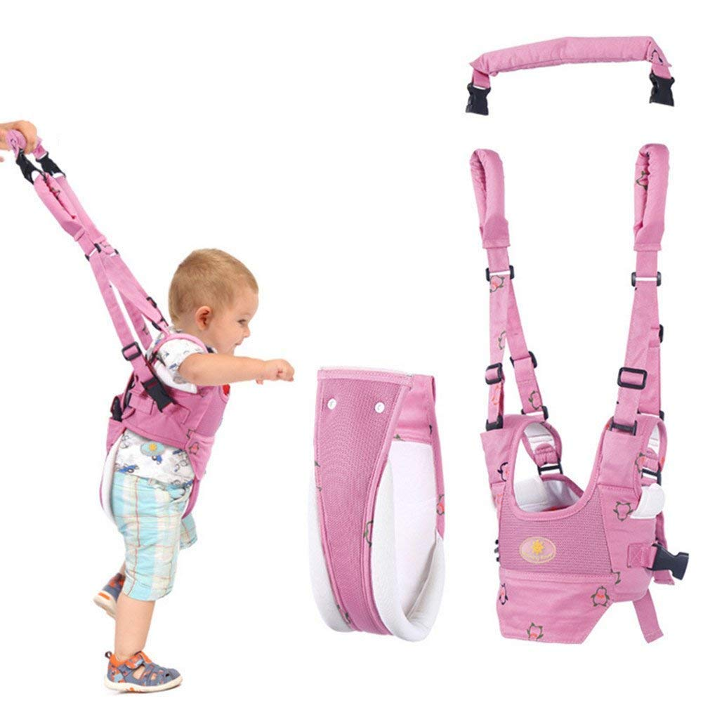 Baby Walker Toddler Walking Assistant, Lungeo Handheld Stand Up and Walking Learning Leash Kids Safety Breathable Walking Harness Walker for Baby 6-27 Months (Pink) walking helper 1-1