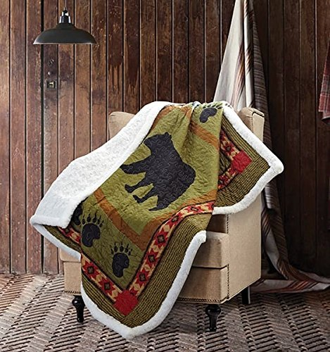 Bear and Paw Quilt Throw with Sherpa Backing -