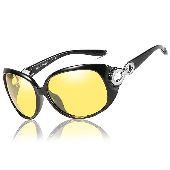 5f157de38a4809 Duco Lunettes de conduite de nuit HD pour femmes, lunettes de soleil jaunes  ovales et