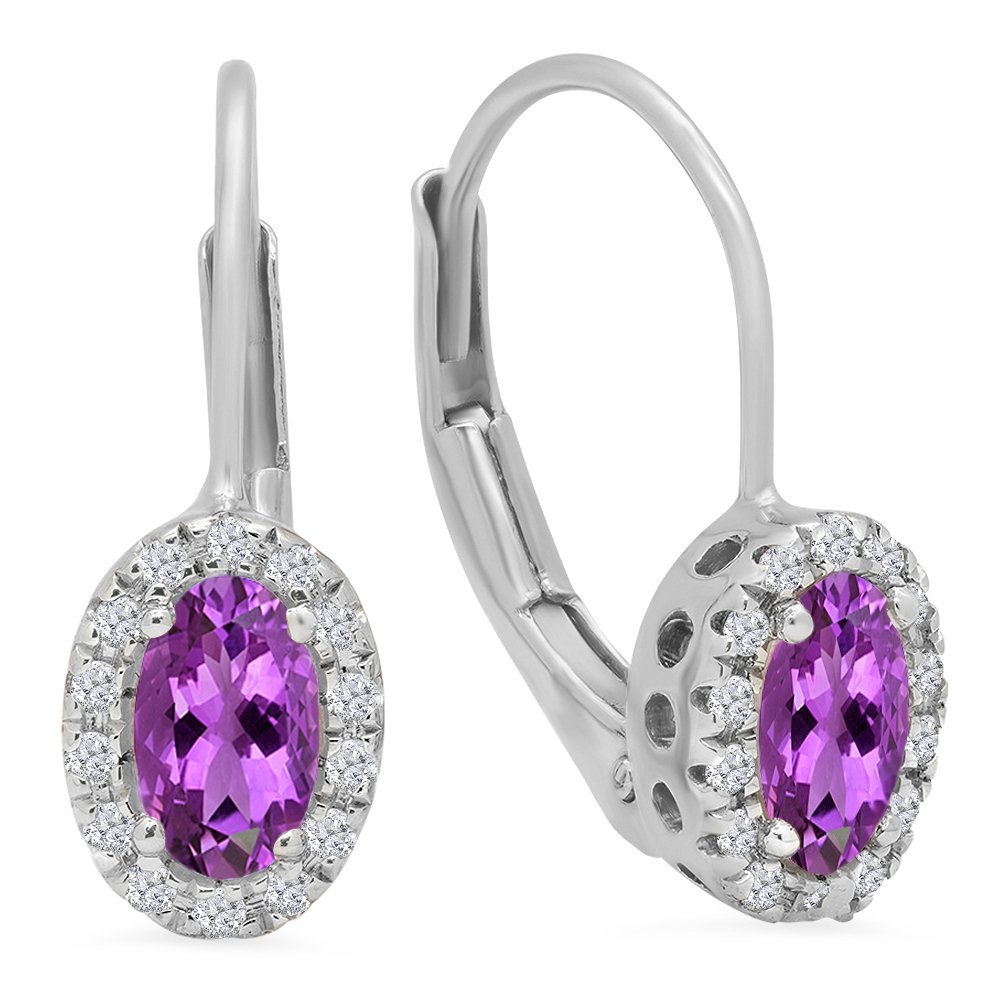 14K White Gold Oval Cut Amethyst & Round Cut White Diamond Ladies Halo Style Hoop Earrings