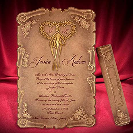 Amazoncom Scroll medieval wedding invitations Scroll Wedding