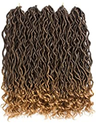 New Styles Goddess Faux Locs 6 pcs/lot Ombre Brown Crochet Braiding Hair with Curly Ends Synthectic Hair Extensions (T1B/27)