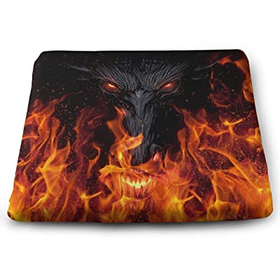 Devil Flame Fantasy Art Dragon Square Cushion Thick Large Soft Mat Floor Pillow Seating for Home Decor Garden Party for Chair Pads 15x13.7x1.2Inch: Office Products