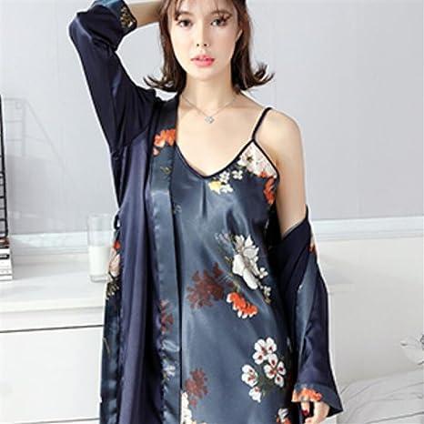 SUxian - Ladies Flowers Embellished Collar Nightdress Batas con Vestido de Tirantes