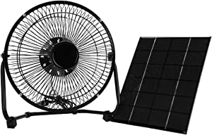 """Tbest Solar Panel Powered Fan 5.2W 6V Portable Mini USB Solar Fan Iron Cooling Fan for Camping Home Office Outdoor Traveling Fishing 8"""" Inch"""