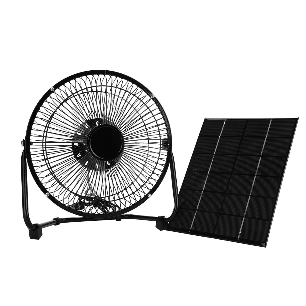 Alomejor 8inch Cooling Ventilation Fan USB 5.2W 6V Iron Solar Powered Panel Iron Fan for Home Office Outdoor Traveling Fishing by Alomejor