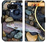 Luxlady Samsung Galaxy S8 Plus Flip Fabric Wallet Case Image ID: 34662975 Top View of a Single Native Wild Trout Next to Fishing Reel Landing net