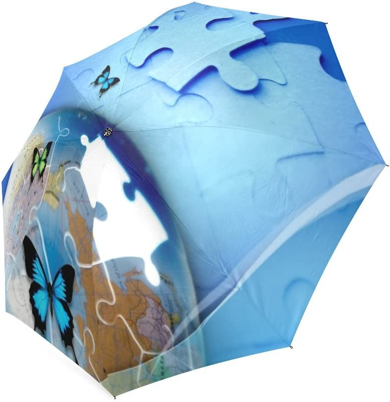 foldable Umbrella Custom Autism Awareness Puzzle Jigsaw and Butterflies Compact Travel Windproof Rainproof