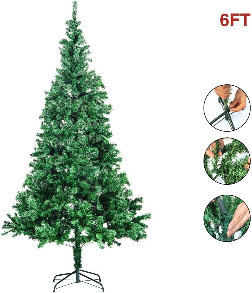 Fitnessclub 6FT Artificial Christmas Pine Tree Hinged Unlit Slim Tree Xmas Tree for Indoor Decoration Green, 6FT
