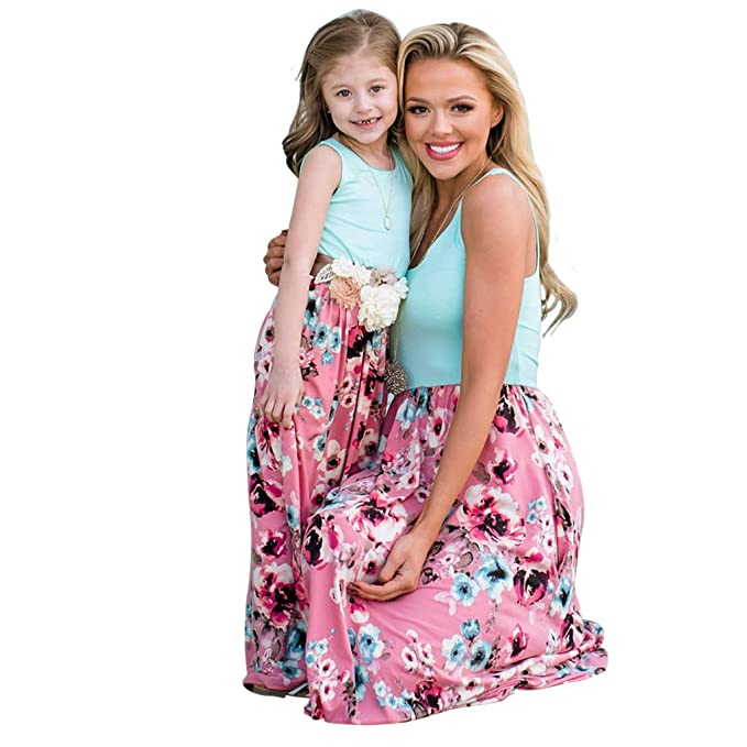 f3a5cbabe1 Amazon.com: Yaffi Mommy and Me Matching Maxi Dress Summer Sleeveless Floral  Printed Casual Long Dress for Mother Daughter: Clothing