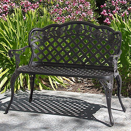 Cast Aluminum Garden Bench (Best Choice Products Patio Garden Bench Cast Aluminum Outdoor Garden Yard Solid Construction New - Bronze)