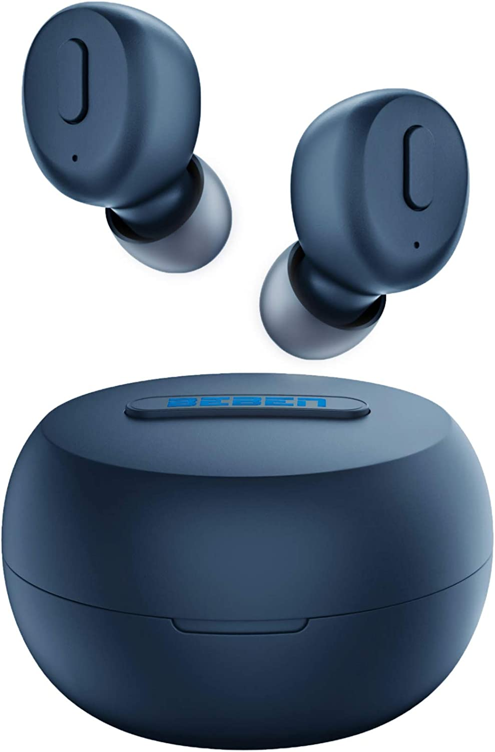 BEBEN Bluetooth 5.0 True Wireless Earbuds, IPX8 Waterproof 30H Cyclic Playtime TWS Stereo Headphones for iPhone Android with Charging Case, in-Ear Earphones Headset with mic for Sport - Navy Blue