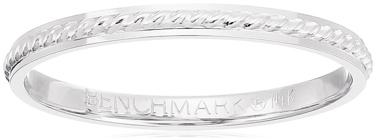 14k White Gold 2mm Rope Center Band Stackable Ring, Size 7