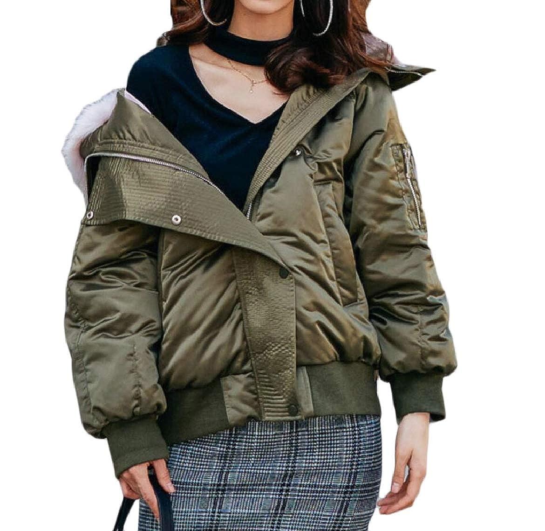 1 pujinggeCA Womens Thicken Zip FauxFur Collar Loose Fit Parka Jacket Coat Outwears