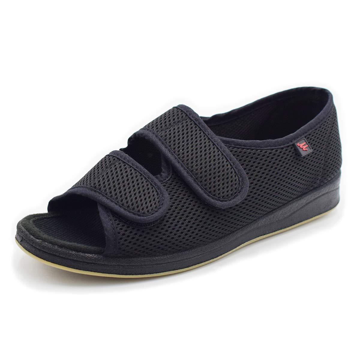 Mei MACLEOD Womens Adjustable Diabetic Flat Feet Arthritis Edema Shoes (10, Black) by Mei MACLEOD