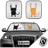 IC ICLOVER Car Windshield Sun Shade, 2-Piece Foldable Front Window Sunshade with Cute Cartoon Cats Pattern, Auto Sun UV…