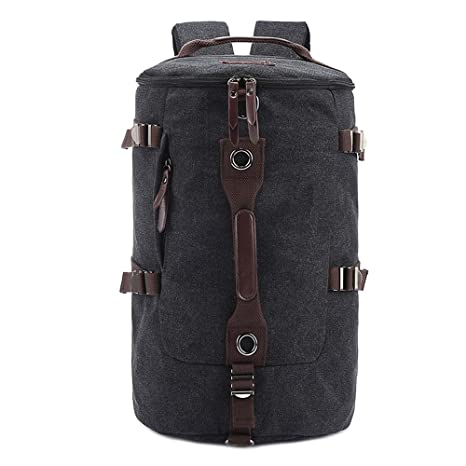 Canvas Backpack Travel Camping Climbing Hiking Mountain Daypack Large  Capacity Men Weekend Bags (Black) ff57877ade