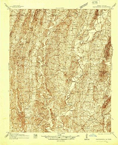 YellowMaps Chatsworth GA topo map, 1:48000 Scale, 15 X 15 Minute, Historical, 1938, 26.8 x 21.8 in - Polypropylene (Ga Cohutta)