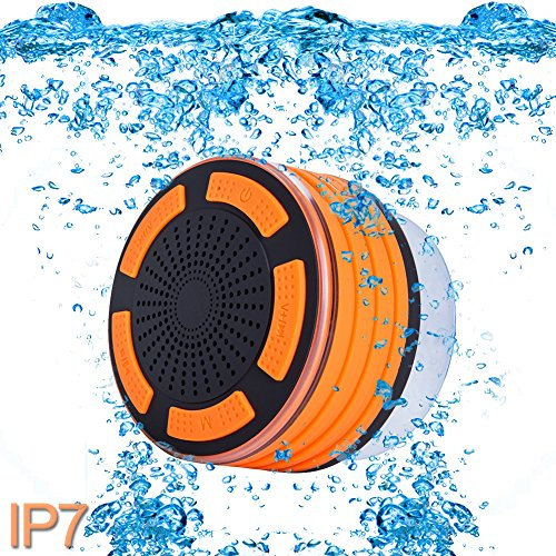 Premium Quality Shower Speaker, IP67 Waterproof Portable Wireless Bluetooth 4.0 Speakers with Super Bass HD Sound and Breathing LED Light for Pool Beach Bath Boat Sauna or Spa (Orange)]()