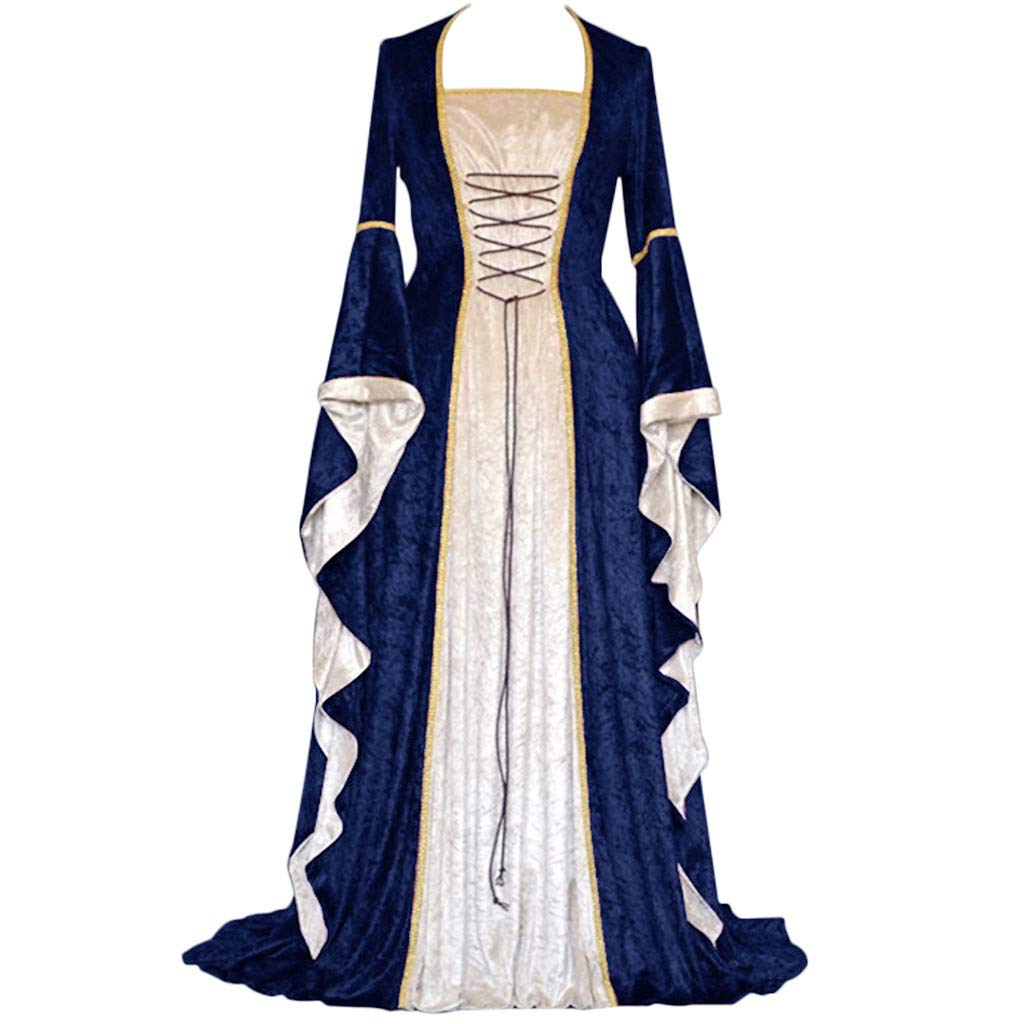 ℱLOVESOOℱ Renaissance Medieval Costume Dress for Women, Trumpet Sleeves Fancy Gothic Lace Up Over Long Dress Cosplay Gown Navy by ℱLOVESOOℱ