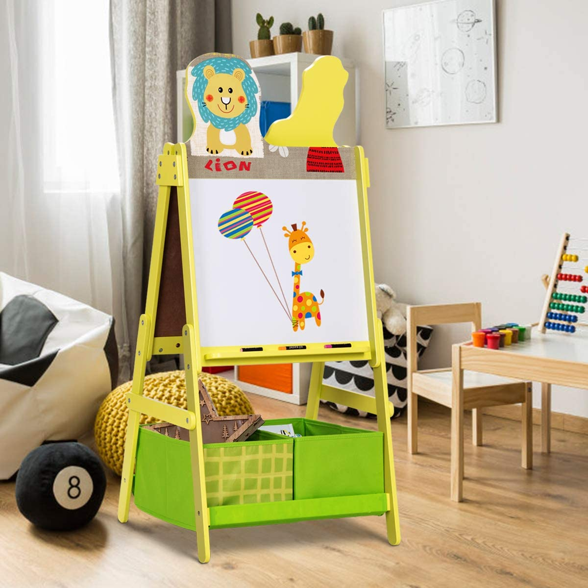 Costzon Kids Art Easel, 2 in 1 Magnetic & Chalk Double Sided Board Art Easel, A-Frame Painting Easel with Two Storage Bins, Cute Animal Design for Boys & Girls, Green