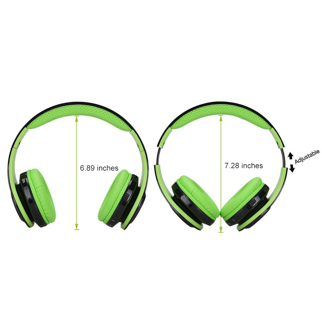 Excelvan Wireless LED Stereo Bluetooth Headphones Over Ear with Mic for Kids Children Women Men, Portable Headset Noise Isolating Headphone for iPhone 7 7plus 6s 6 5s, iPad, Samsung Galaxy (Green)