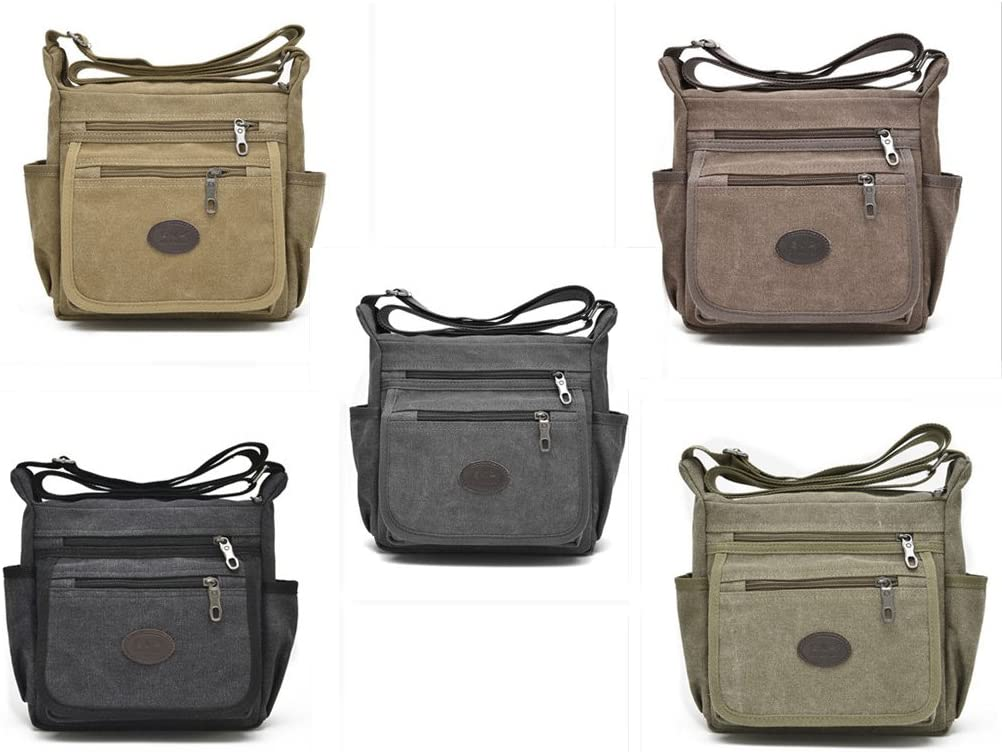 Khaki Qflmy Vintage Retro Canvas Messenger Bag Crossbody Shoulder Bag
