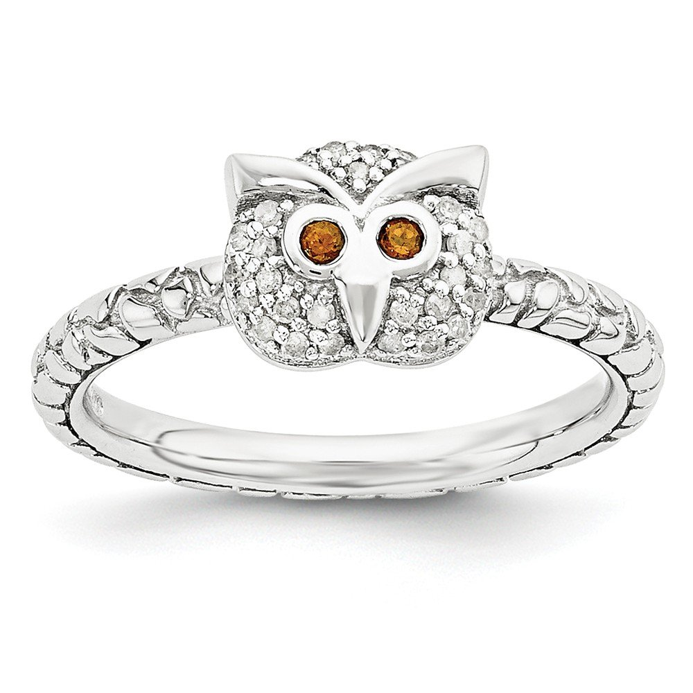Roy Rose Jewelry Sterling Silver Stackable Expressions Garnet & Diamond Owl Ring Size 8 by Roy Rose Jewelry (Image #1)