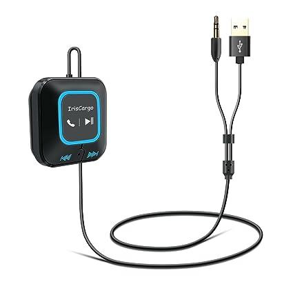 IrisCargo Receptor Bluetooth Adaptador de audio inalámbrico portátil Bluetooth para automóvil con conector de 3,