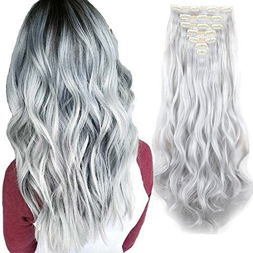 3-5 Days Delivery 7Pcs 16 Clips 24 Inch Wavy Curly Full Head Clip in on Double Weft Hair Extensions (Grey Hair Extensions)
