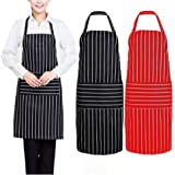 Set of 2 - Adjustable Bib Apron with 2 Pockets Black Stripes Professional Cooking Kitchen Aprons - Extra Long Ties, Commercial Grade, Red & Black for Women,Men,Chef