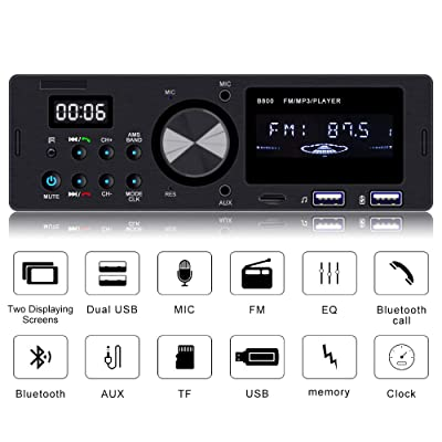 Everimprove Touch Screen Single Din Radio Bluetooth Car Stereo Receiver Dual USB SD AUX Input FM Radio Car Audio Radio Receiver with Wireless Remote: Car Electronics [5Bkhe0411754]