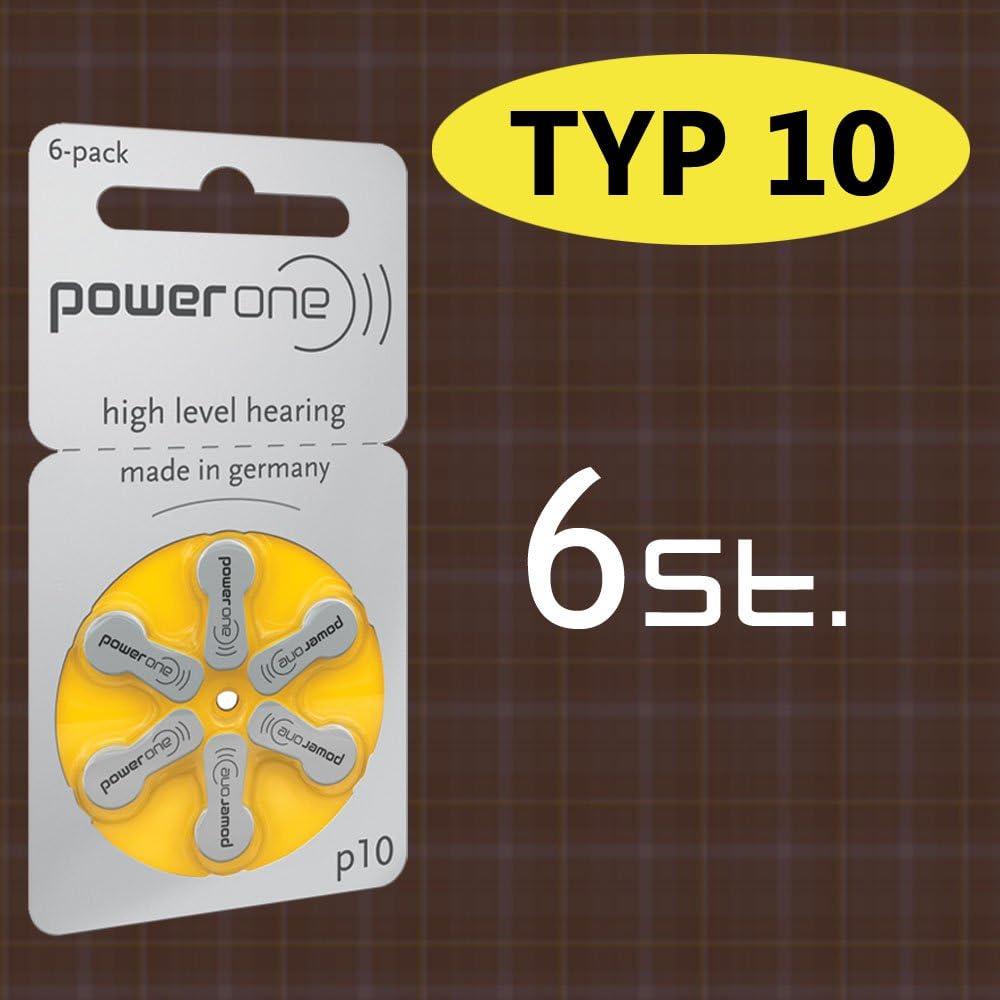 6pieza batería PowerOne Tipo P 10pilas para audífonos (para audífono: bernafon)