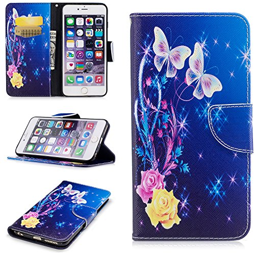 """iPhone 6 6S Case, UZER Painted Pattern Shockproof [Kickstand Feature] Premium PU Leather Folio Flip Wallet Case with Cash/Card Slots and Magnetic Clasp Case for iPhone 6/iPhone 6S 4.7"""""""