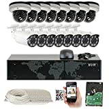 GW Security 16 Channel 4-Megapixel (2592 x 1520) POE Security Camera System - (8) Bullet and (8) Dome 4MP 2.8-12mm Varifocal Zoom IP Cameras