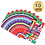 Whaline 10 Sheets World Cup Stickers 32 Top National Country Flag Stickers Face Self-Stick for 2018 World Cup
