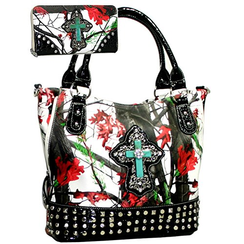 Western Camo Bling Rhinstone Cross Accent Purse Wallet Set W/Black Trim - Red/White/Black (Red And Black Cross Purse)