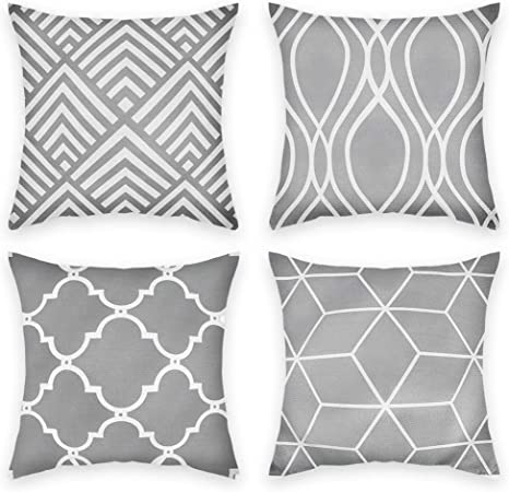 Amazon Com Hoomall Set Of 4 Stripe Grey Pillow Covers Pattern Sofa Cushion Case Throw Pillow Cover 18x18 Inches Without Core Ordinary Stripe Grey 4pcs Home Kitchen
