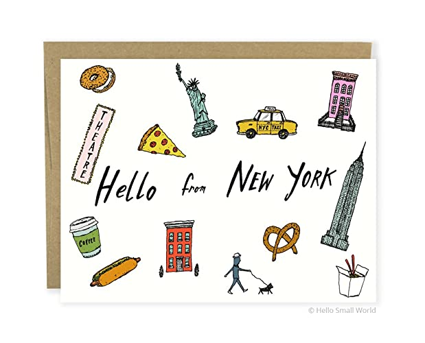 Amazon new york city greeting card hello from new york travel new york city greeting card hello from new york travel vacation cards m4hsunfo