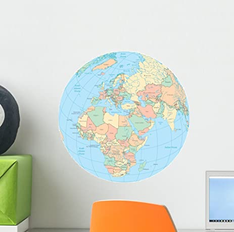Amazon world political map globe wall decal by wallmonkeys peel world political map globe wall decal by wallmonkeys peel and stick graphic 12 in h gumiabroncs Image collections