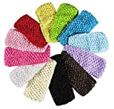 "Baby Headbands for Girls - HipGirl 12 Pack 2.75"" Wide Crochet Elastic Stretch Boutique Hair Wrap Band Beauty Accessory for Woman Toddler Teen. Can Be Decorated with Hair Bow, Ribbon Flower and Clip"