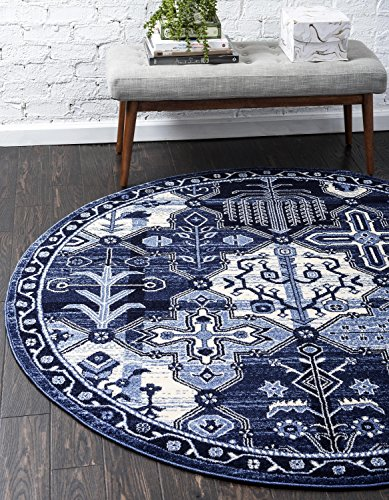 Unique Loom La Jolla Collection Tone-on-Tone Traditional Blue Round Rug (3' 3 x 3' 3) - This rug is perfect for those high traffic areas in your home. It's also kid and pet friendly! This rug is waterproof, mold and mildew resistant, stain resistant, and does not shed. Cleaning Instructions: As long as it's a short-pile, indoor rug, we recommend spot cleaning with resolve, and regular vacuuming is recommended. You can use a carpet cleaner (shampooer) but it should be dried immediately and evenly. - living-room-soft-furnishings, living-room, area-rugs - 61tK3q7J 0L -