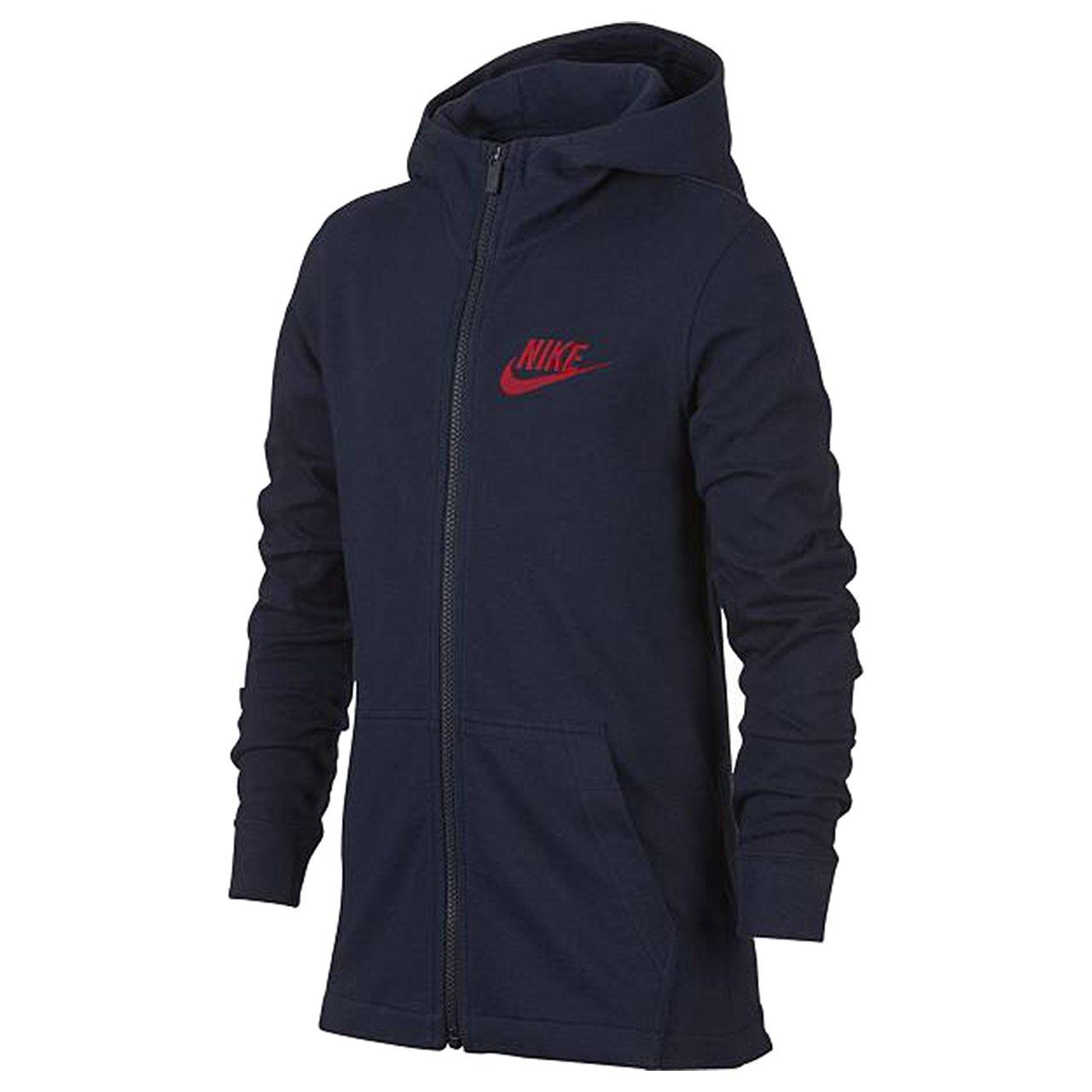 NIKE Big Kids' (Boys') Full Zip Sportswear Hoodie Navy AA6628 451 (m)