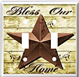 BARN STAR BLESS OUR HOME COUNTRY DECOR LIGHT SWITCH COVER PLATE OR OUTLET V892 (2x Toggle)