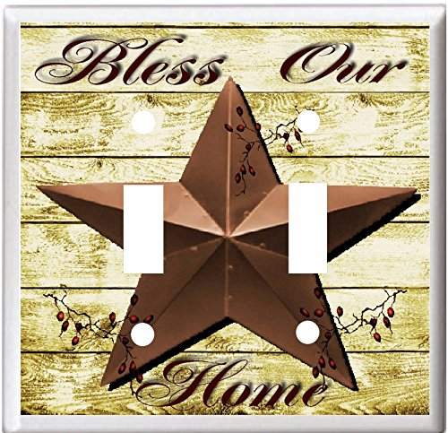 BARN STAR BLESS OUR HOME COUNTRY DECOR LIGHT SWITCH COVER PLATE OR OUTLET V892 (2x Toggle) - Country Switch
